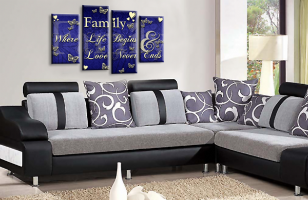 Family Quote Canvas Wall Art Picture Print Blue Cream